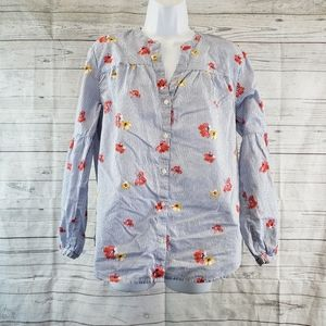 Old Navy Top Sz Large Blue Pink Striped Floral